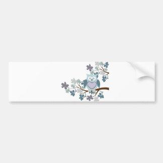 Winter Polka Owl in Tree Bumper Sticker
