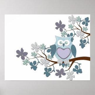 Winter Polka Owl in Tree Poster