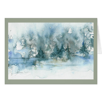 Winter Pond.  Holiday card. Card