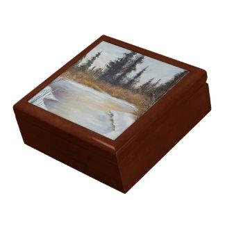 Winter Pond Landscape Jewelry Box
