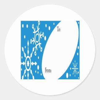 Winter Present Tag Round Sticker