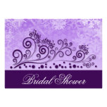 Winter Purple Snowflake Bridal Shower Invitations