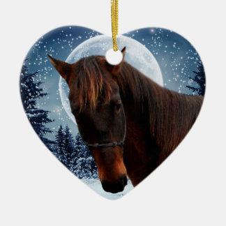 Winter Quarter Horse Ceramic Heart Decoration