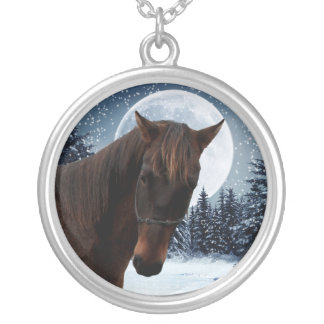 Winter Quarter Horse Silver Plated Necklace