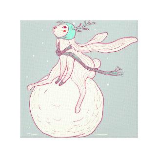 Winter rabbit and snow ball canvas print