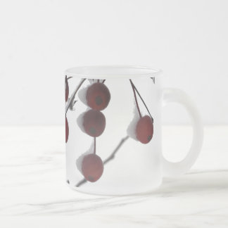 Winter Red Berries, 2 Frosted Glass Coffee Mug