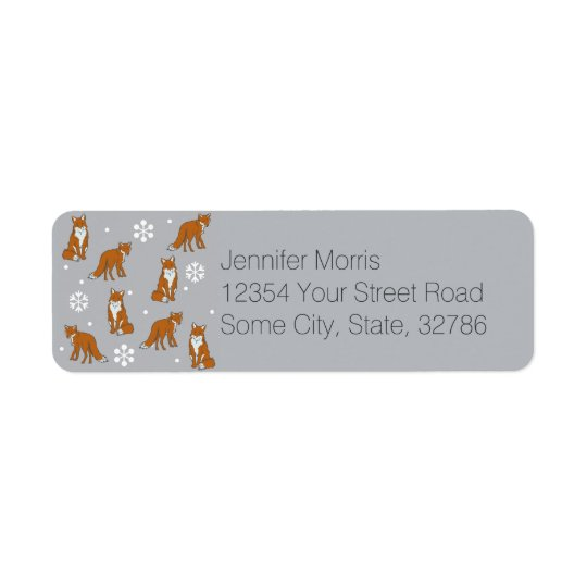 Winter Red Foxes Pattern Return Address Label