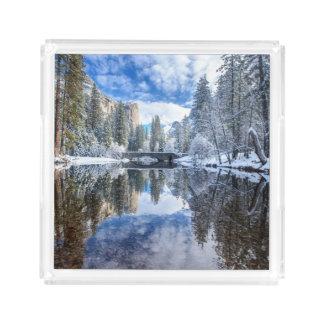 Winter Reflection at Yosemite Acrylic Tray