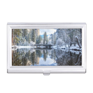 Winter Reflection at Yosemite Business Card Holder