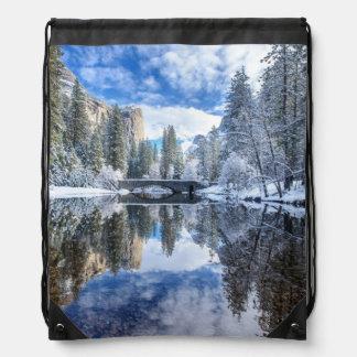 Winter Reflection at Yosemite Drawstring Bag