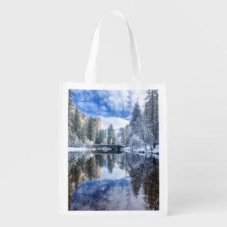 Winter Reflection at Yosemite Reusable Grocery Bag