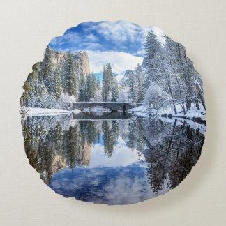 Winter Reflection at Yosemite Round Cushion