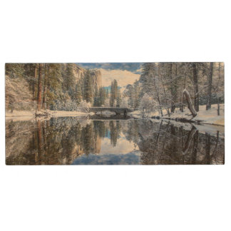 Winter Reflection at Yosemite Wood USB 2.0 Flash Drive