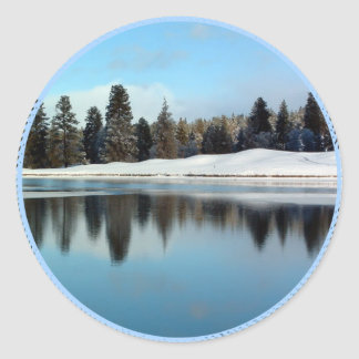 Winter Reflection Classic Round Sticker