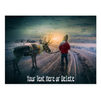 winter reindeer and child christmas customizable postcard