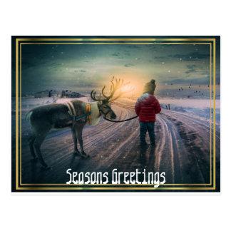 winter reindeer and child christmas postcard