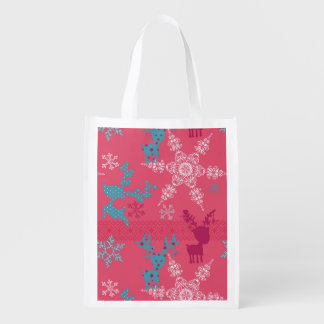 Winter Reindeer Pattern Reusable Grocery Bag
