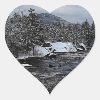 Winter River Heart Sticker