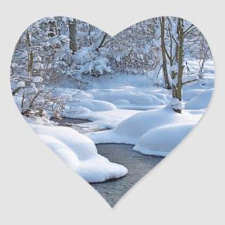 Winter river with snow heart sticker