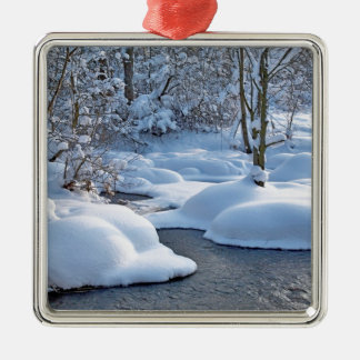 Winter river with snow Silver-Colored square decoration
