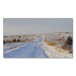 Winter Road in the Fields Magnetic Business Cards