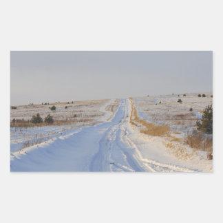 Winter Road in the Fields Rectangular Sticker