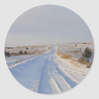 Winter Road in the Fields Round Sticker