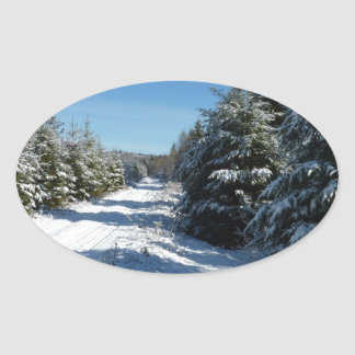 Winter Road Oval Stickers