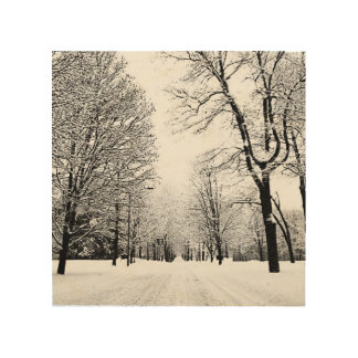 Winter road wood wall art