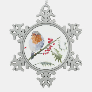 Winter Robin Pewter Snowflake Decoration