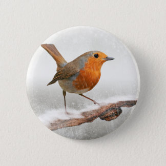 Winter Robin Redbreast 6 Cm Round Badge