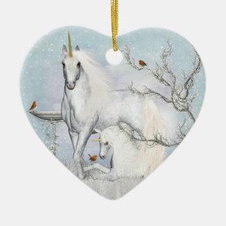 Winter Robins and Unicorns Ceramic Heart Ornament