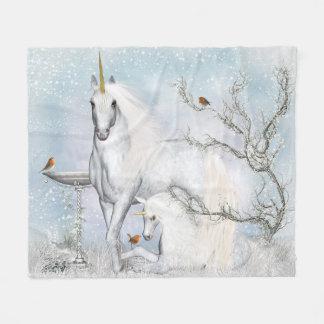Winter Robins and Unicorns Fleece Blanket