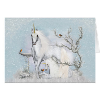 Winter Robins and Unicorns Note Card