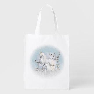 Winter Robins and Unicorns Reusable Grocery Bag