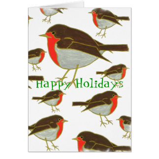"Winter Robins ""Happy Holidays"" Greeting Card"
