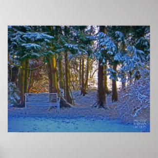 Winter romantic snow scene poster