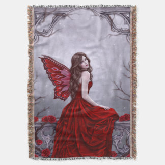 Winter Rose Butterfly Fairy Throw Blanket