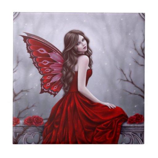 Winter Rose Fairy Art Tile