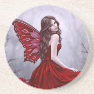 Winter Rose Fairy Sandstone Drink Coaster