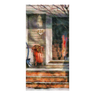 Winter - Rosebud and Shovel - Painted Custom Photo Card