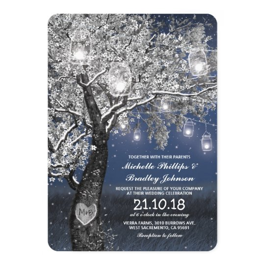 Winter Rustic Blue String Lights Wedding Card