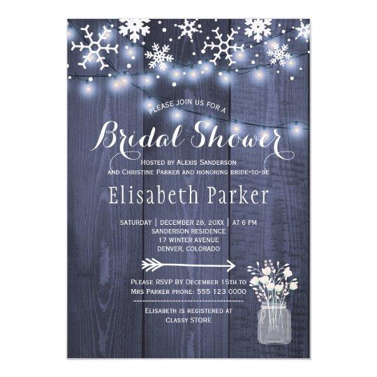 Winter rustic string lights snow bridal shower card