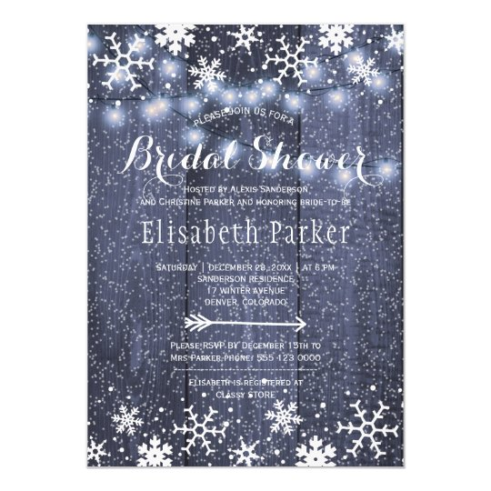 Winter rustic string lights snowing bridal shower card