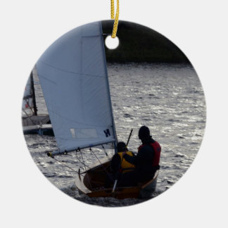 Winter Sailboat Race Round Ceramic Decoration