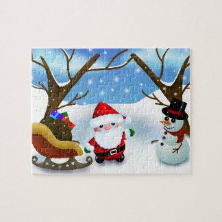 Winter Santa Claus and a Snowman Jigsaw Puzzle
