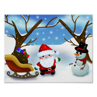 Winter Santa Claus and a Snowman Poster