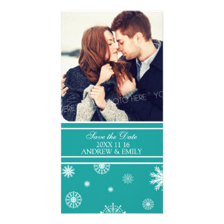 Winter Save the Date Wedding Photo Cards Teal