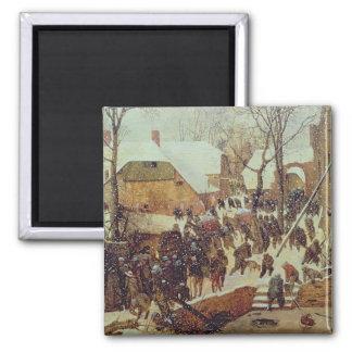 Winter Scene, 16th century Square Magnet