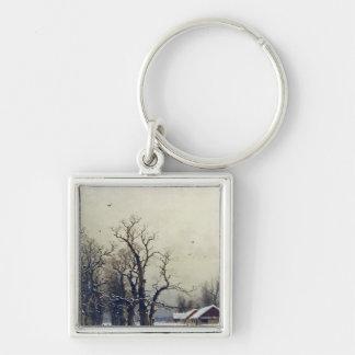 Winter scene, 19th century Silver-Colored square key ring